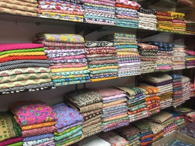 Quirky and colourful cloth material at Shankar Market