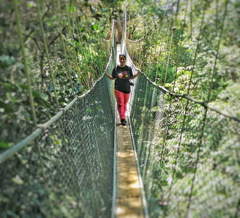 Swati on a rope bridge