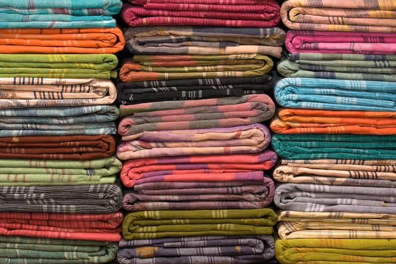The colourful variety of cotton fabrics at Mohan Singh Place