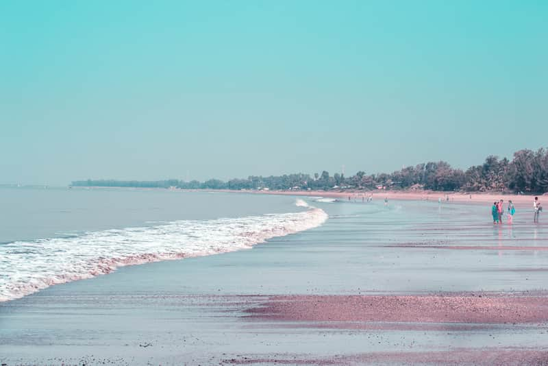 The dark sand beach of Dahanu