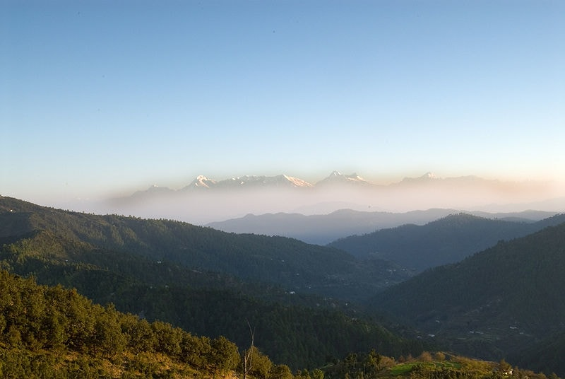 A View of the Himalayas from Mukteshwar