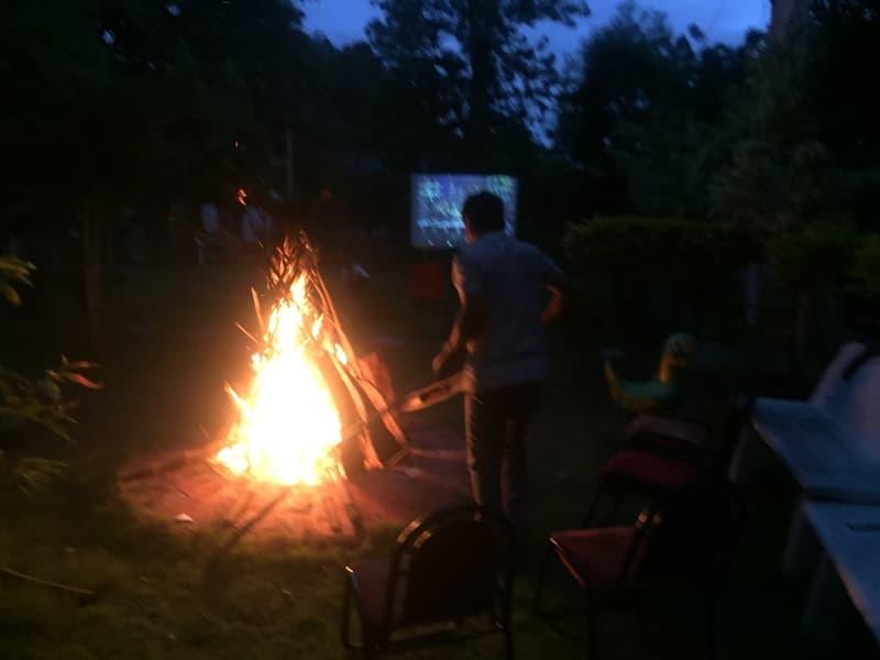 A bonfire set up by the campsite at Kanakpura