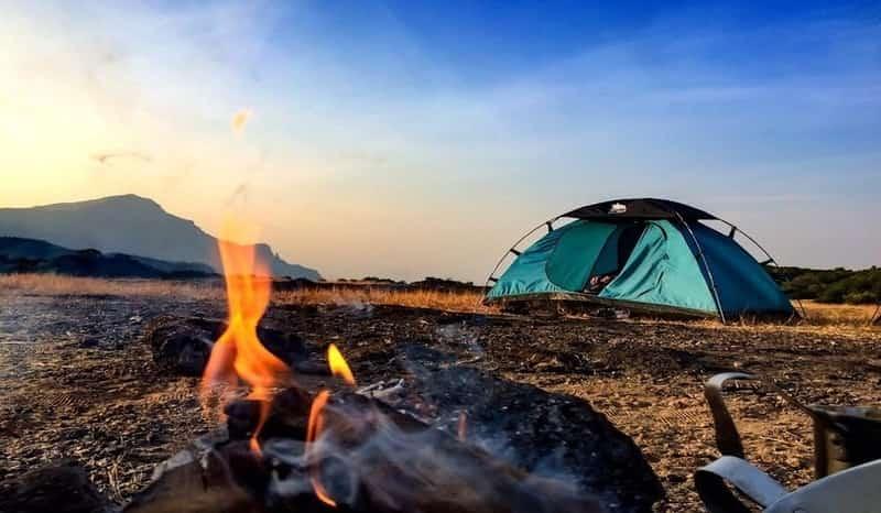 A fire set up the campsite