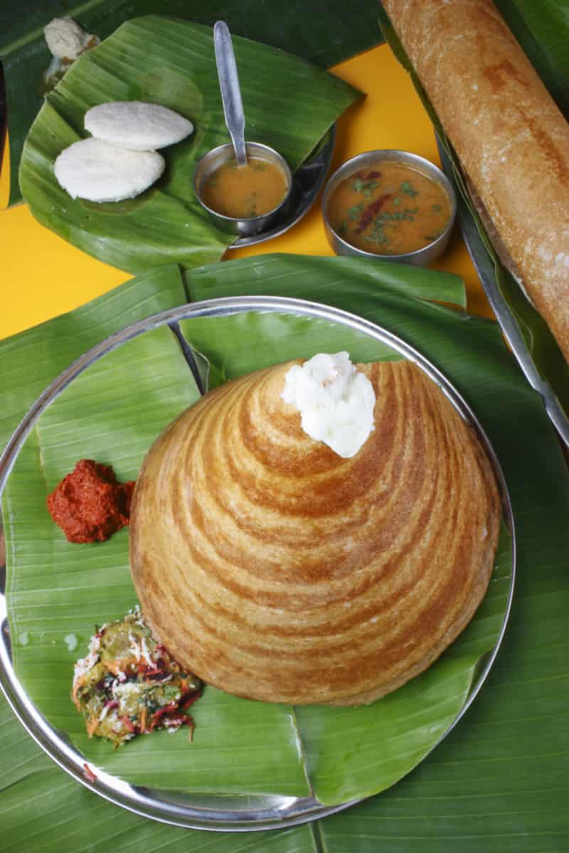 Ghee Roast Dosa Served on a Banana Leaf