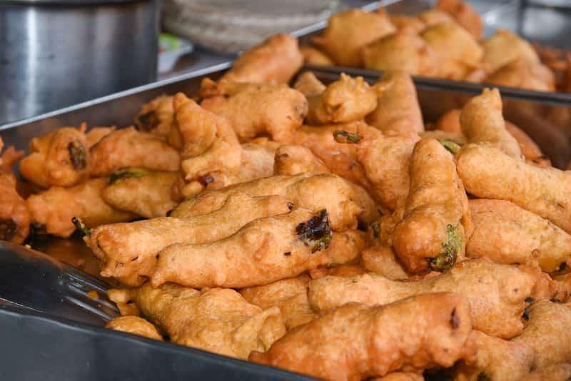 Mirchi Bajji is a popular spicy snack in Vijayawada