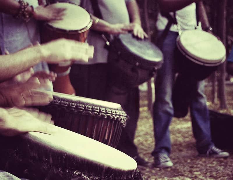 Performers at the Delhi Drum Circle