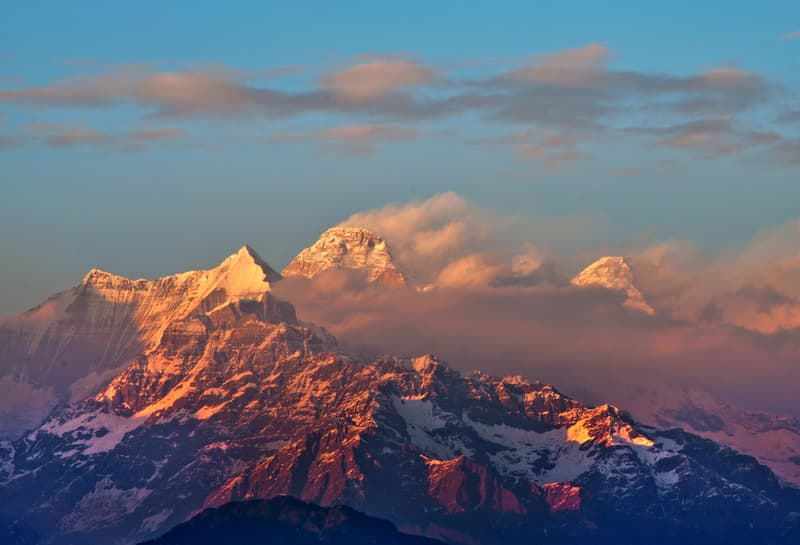 Sun setting on Nanda Devi, Kumaon
