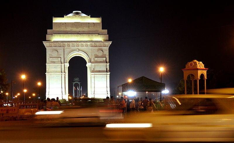 The India Gate memorial at night