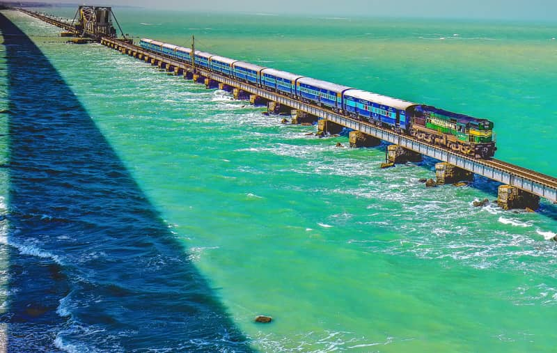 A Train crossing the Pamban