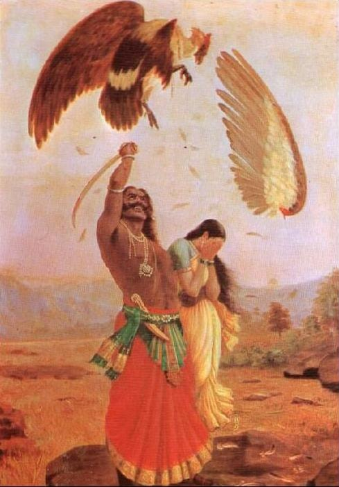 Jatayu's Death at the Hands of Ravana, a Painting by Raja Ravi Varma