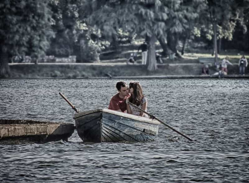 A couple enjoying a boat ride in Vietnam